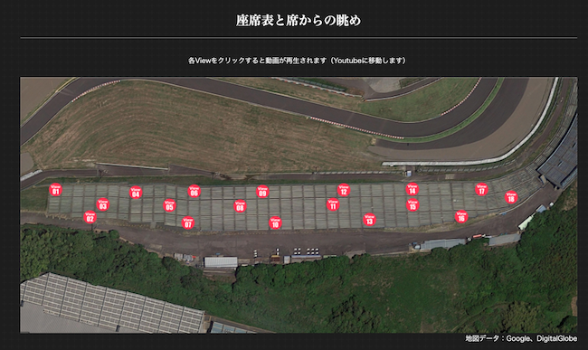 鈴鹿サーキット公式サイトの各席からの眺めを紹介するページ