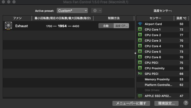 Mac Fan Controlのファン回転数